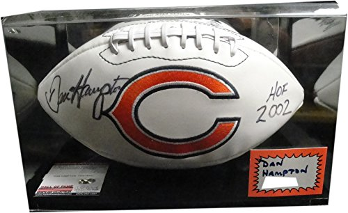 (Dan Hampton Hand Signed Autographed Football W/Case Chicago Bears HOF 2002 COA)