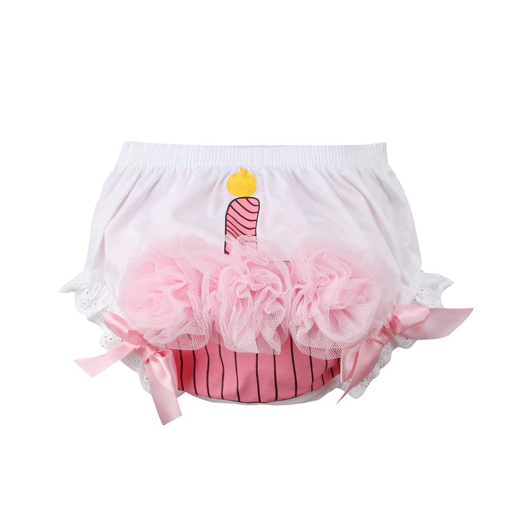 Franhais Newborn Infant Baby Girls White Pink Bloomers Underwear Diaper Cover Cupcake for Toddler