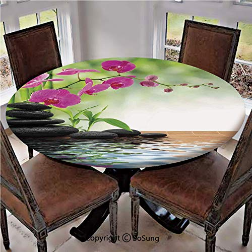 Elastic Edged Polyester Fitted Table Cover,Composition Bamboo Tree Floor Mat Orchid Stones Wellbeing Greenery,Fits up 56