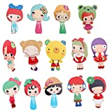 Dovewill 14 Pieces/Pack Cartoon Pattern Wood Mirror Kids Hand Held Mini Pocket Mirror Toys