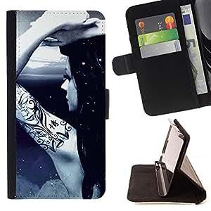 BullDog Case - FOR/Sony Xperia Z1 L39 / - / Cool Awsome Tattoo Girl /- Monedero de cuero de la PU Llevar cubierta de la caja con el ID Credit Card Slots Flip funda de cuer