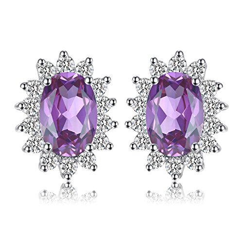 - Jewelrypalace Gemstones Birthstone 1.1ct Natural Amethyst Stud Earrings For Women 925 Sterling Silver Earrings For Girls Princess Diana William Kate Halo Earrings