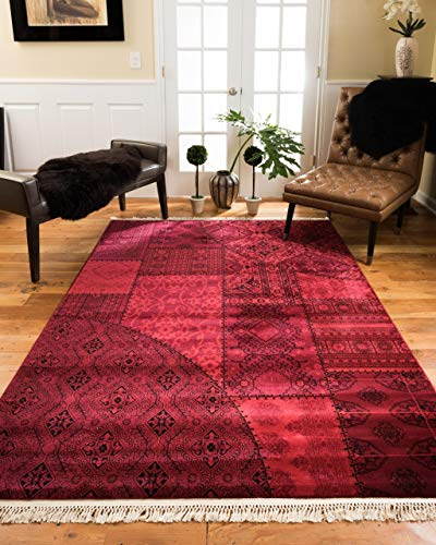 Natural Area Rugs Vintage Oriental Afghan Polypropylene Rug 5 x 8 Red