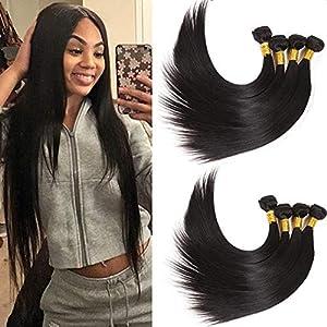 NEWNESS Brazilian Straight Human Hair 6 Bundles 30 32 34 36 38 40 Inch Straight Long Weave Bundles 10A Grade Virgin Hair…