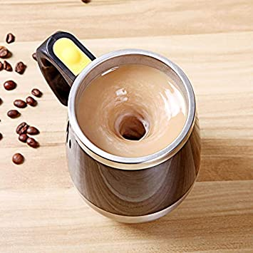 QingZhou Self Mixing Coffee Cup,Creative Stainless Steel Magnetized Mixing Cup Office Multi-Purpose for Coffee Tea Hot Chocolate Milk