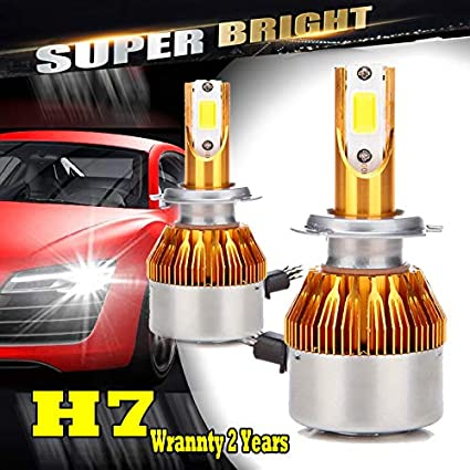 Amazon.com: H7 200W LED Headlights Bulbs 20000LM 6000K Replacement Kit - High Beam/Low Beam Conversion Kit Headlamp Lighting Bulb (5 Years Warranty): ...