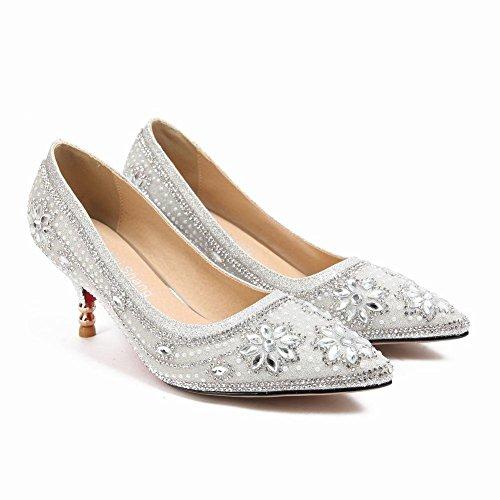 YE Damen Spitze Pumps Stiletto Glitzer High Heels mit Strass Hochzeit Party Elegant Schuhe