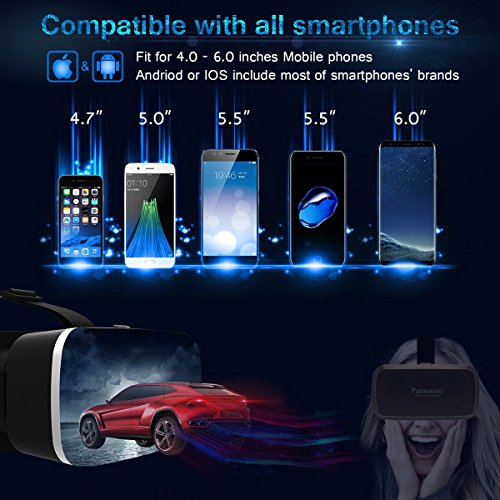 Amazon.com: Pansonite Premium 3D VR Glasses with Adjustable Lenses & Head Strap, More Lightweight and Comfortable Virtual Reality headset for 3D Movies and Games, Fit for iPhone and Android Smartphone (black): Cell Phones & Accessories