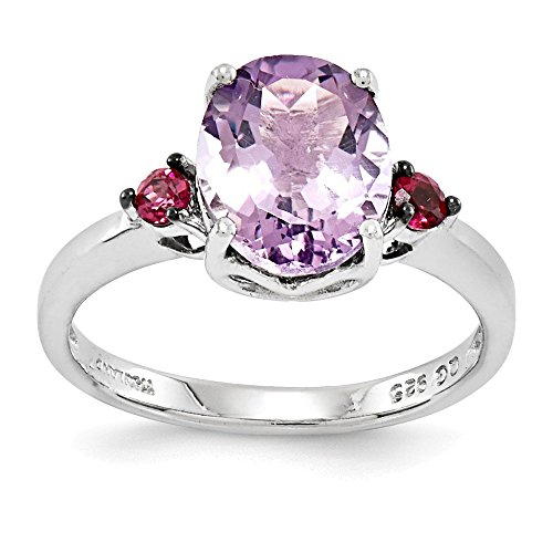 Amethyst Rhodolite Bracelet (Jewelry Adviser Rings Sterling Silver Rhodium Pink Quartz & Rhodolite Garnet Ring Size 10)