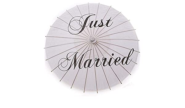 34ea2d008bb4fd Amazon.com  Just Married - 20pcs Bamboo 20 5 39 Just Married Wedding  Umbrella Parasol White Paper Mr Amp Mrs Bridal Favor - Decor Booth Ribbon  Cookbook ...