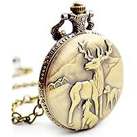 BOSHIYA Men's Pocket Watch Perfect Anniversary Gift Classic Vintage Quartz Watch Animal Deer Pocket Watch Accessories (Deer)