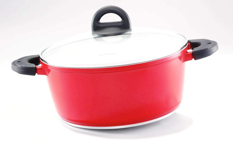 Steinbach Topf Galani | Alu-Guss | Farbe Rot | Deckel mit Dampfabzugsöffnung | Induktion | Keramikbeschichtung | spülmaschinenfest (Ø 16 cm) Original Steinbach