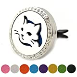 Kyпить Essential Oil Diffuser Jewelry - Cute Cat Design Car Air Freshener Aromatherapy Stainless Steel Vent Clip Locket By JAOYU на Amazon.com