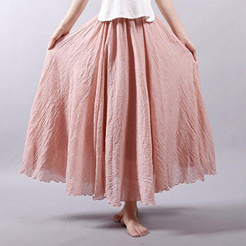 classique 95cm Jupe Lin Taille Femme Pure Elégante Aivtalk En Corail 85 Longue Couleur PwYdqqO