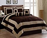 Oversized King Bed in a Bag Set Oversize Chocolate / Brown Comforter Set Micro Suede Square Patchwork Bed In A Bag (California) CAL KING Size Bedding