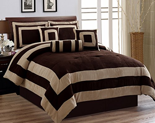 Grand Linen Oversize Chocolate/Brown Comforter Set Micro Suede Square Patchwork Bed In A Bag QUEEN Size (Square Bed In A Bag)