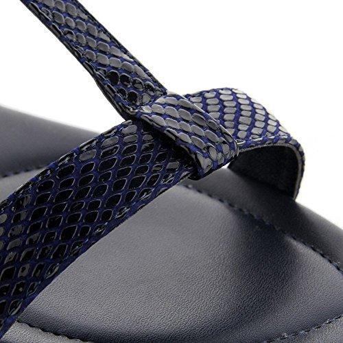 AllhqFashion Mujeres Sólido Cuero Mini Tacón Puntera Abierta Hebilla Sandalia Azuloscuro
