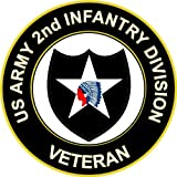 "3.8"" US Army 2nd Infantry Division Veteran Decal Sticker"