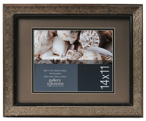 Gallery Solutions 11x14 Etched Antiqued Brass & Silver Wall Frame with Mat For 8x10 Image