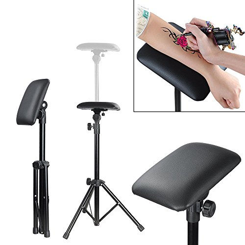 (Tattoo Tripod Stand Arm Leg Rest Studio Chair Sponge Pad Tattoo Armrest with Bracket Height Adjustable 65-115cm)