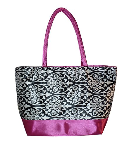 Custom Personalized Damask with Hot Pink Trim Print Canvas Shopping Tote Bag (Blank) (Custom Tote compare prices)