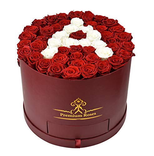 Premium Roses| Real Roses That Last a Year | Fresh Flowers| Roses in a Box (Custom Box, Large) ()