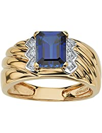 Men's Emerald-Cut Blue Sapphire and Diamond Accent 18k Gold Over .925 Sterling Silver Ring