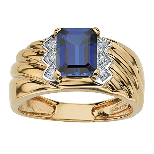Palm Beach Jewelry Men's Emerald-Cut Blue Sapphire and Diamond Accent 18k Gold Over .925 Sterling Silver Ring Size 13 ()