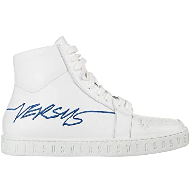: Versace Leather High Top White Trainer 11: Shoes