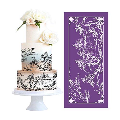 AK ART KITCHENWARE DIY Landscape Mesh Stencil for Cakes Lace Mat Fondant Molds Cake Decorating Stencils Royal Icing Fondant Cake Stencil Painting Stencils Pastry Tools Gumpaste Molds Bakeware MST-23