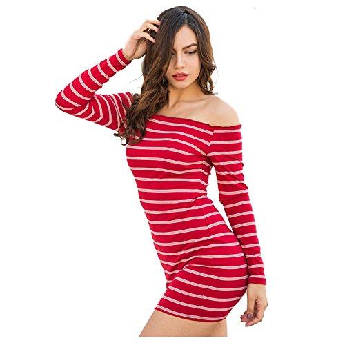 9286f9c19fbb SODIAL(R) Women Spring Autumn Sexy Off Shoulder Striped Women Mini Dress  Slim Strapless