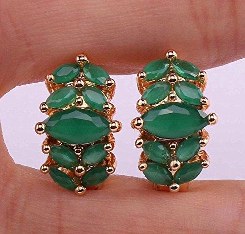 Phonphisai shop 18K Yellow Gold Filled - Opal Emerald Topaz Zircon Flower Cat Eye Gems (18k Cat Earrings)