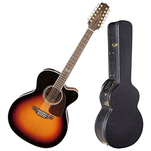 (Takamine GJ72CE-12BSB Gloss Brown Sunburst Jumbo 12 String Acoustic Electric Guitar w/ Hard Shell Case)