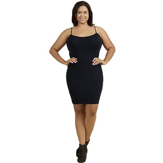 Sofra Women\'s Plus Size Camisole Dress Slip-Black at Amazon Women\'s ...