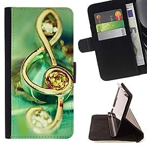 For Sony Xperia Z3 D6603 Case , Símbolo de música de la joyería- la tarjeta de Crédito Slots PU Funda de cuero Monedero caso cubierta de piel