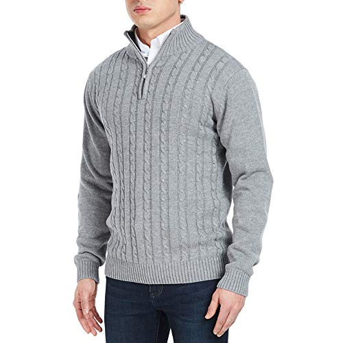 APRAW Men's Relaxed Fit Quarter Zip Sweater Pullover with Twisted Patterned Light Grey -
