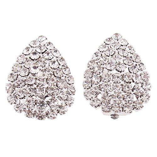 Grace Jun Big Bridal Rhinestone Crystal Silver Plated Clip on Earrings Non Piercing for Women (Water drop)