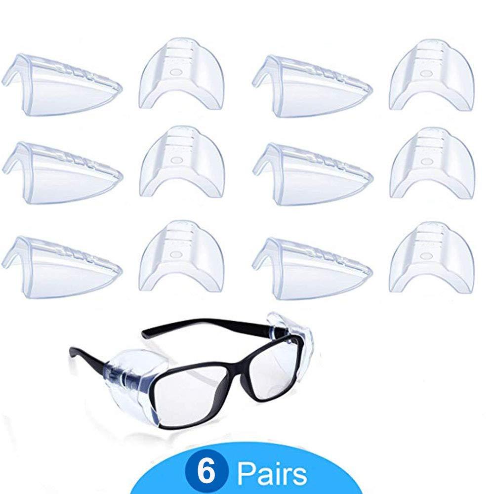 Protector Lateral De Gafas, 6 Pares Transparentes Protectores Laterales de Gafas de Seguridad, Gafas Protección de Seguridad Lateral, para Gafas de Seguridad Pequeñas a Medianas