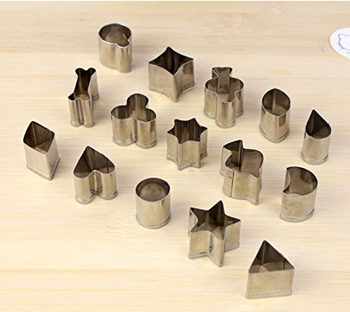 15 pcs Mini Metal Cookie Cutter, Vegetable Cutter Set, Fruit Cutter Shapes Set For (Mini Cookie Cutters)