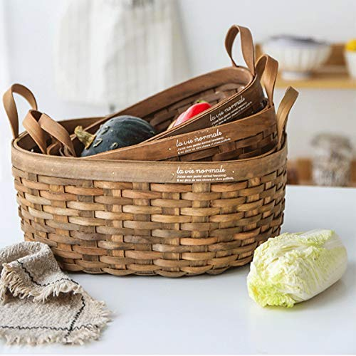Tongboshi Bread Basket, Hand-Woven Storage Basket (with Handle), Picnic Fruit Bread Basket, Storage Basket, Oval Fruit Basket Three-Piece, Latest Models (Color : 3-Piece Set) by Tongboshi (Image #3)