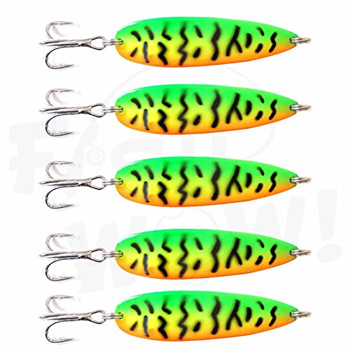 5pcs Fish WOW! 2oz Fishing Spoons jig with a Treble Hook Fish Jigging Casting Lure – Fire Tiger
