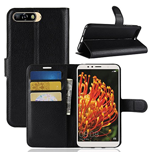 Huawei Y6 2018 Case, AVIDET PU Leather Wallet Flip Case Cover Pouch for Huawei Y6 2018 (Black)