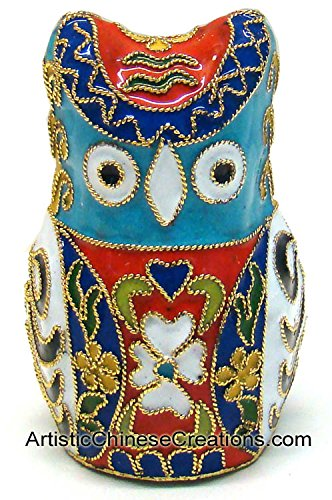 Chinese Cloisonne Animals / Hand Crafted Chinese Cloisonne Owl