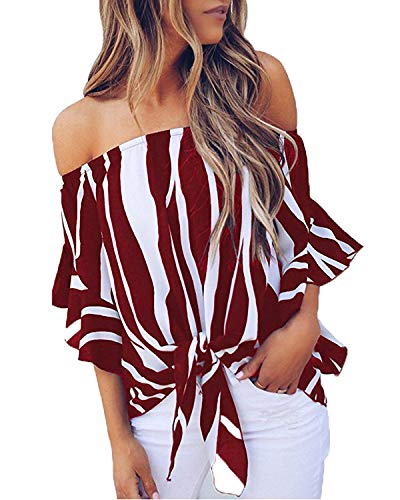 LuckyMore Womens Striped Off Shoulder Bell Sleeve Shirt Tie Knot Summer Blouses Tops (S, Wine Red)