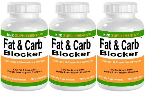 3 bouteilles de graisse et Carb Blocker avec Phaseolus vulgaris (haricot blanc Extrait) Pills chitosane Extreme Diet Weight Loss 270 Nombre de Capsules KRK suppléments