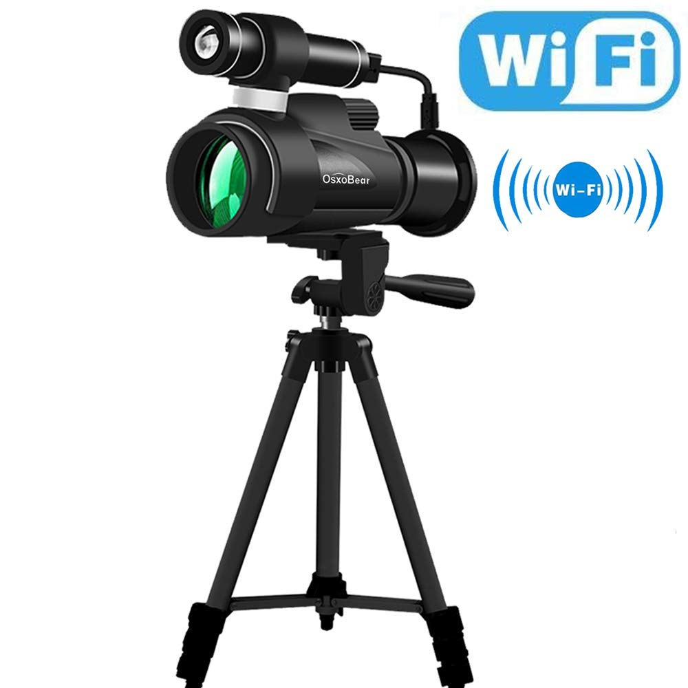OsxoBear Night Vision Monocular with WiFi and APP Function,Infrared Night Vision Telescope with a Big Tripod&Phone Adapter for Night Watching,Outdoor Trip by OsxoBear