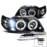 01 mustang halo headlights - Ford Mustang Black Halo Projector Headlights+Driving LED Fog Lamps Pair