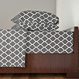 Roostery Islamic 4pc Sheet Set Charcoal Moroccan Lattice by Sweetzoeshop Queen Sheet Set made with