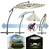 BenefitUSA 9' Cantilever 40 LED Light Patio Umbrella Outdoor Garden Sunshade (Ecru)