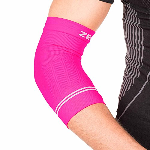 Zensah Compression Tennis Elbow Sleeve for Elbow Tendonitis, Tennis Elbow, Golfer's Elbow - Elbow Support, Elbow Brace,Large,Neon Pink (Elbow Supply Traditional)